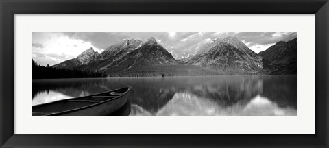 Framed Canoe Leigh Lake Grand Teton National Park WY USA Print