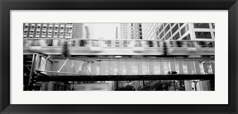 Framed EL Elevated Train Chicago IL Print