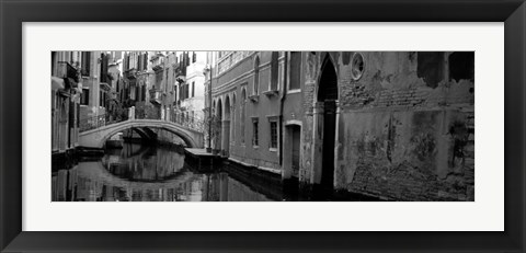 Framed Reflection Of Buildings In Water, Venice, Italy Print