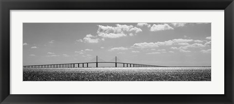 Framed Bridge across a bay, Sunshine Skyway Bridge, Tampa Bay, Florida Print