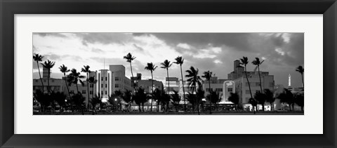 Framed Buildings Lit Up At Dusk, Ocean Drive, Miami Beach, Florida Print
