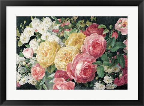 Framed Antique Roses on Black Print