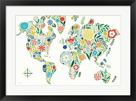 Framed Floral World White Print