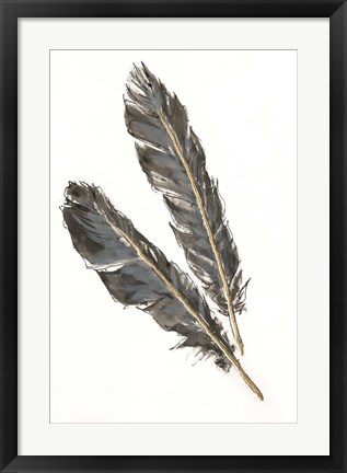 Framed Gold Feathers III on White Print