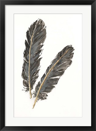 Framed Gold Feathers IV on White Print