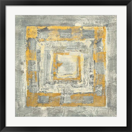 Framed Gold Tapestry II Gold and White Print