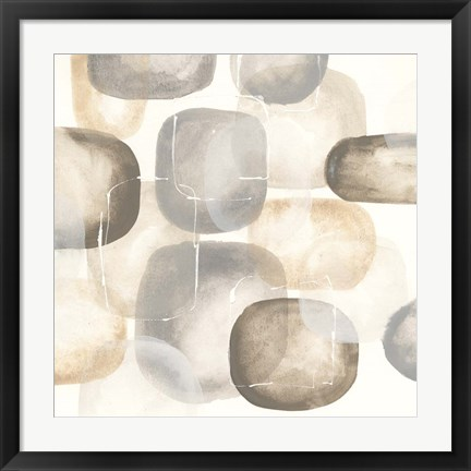 Framed Neutral Stones III Print