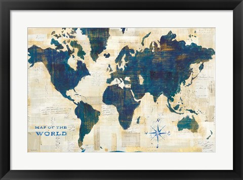 Framed World Map Collage Print