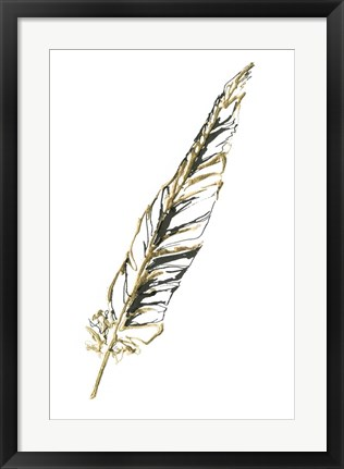 Framed Gilded Swan Feather II Print