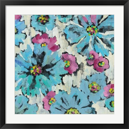 Framed Graphic Pink and Blue Floral I Print
