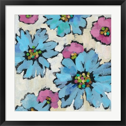 Framed Graphic Pink and Blue Floral II Print