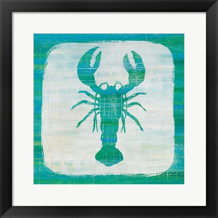 Framed Ahoy II Blue Green Print