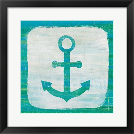 Framed Ahoy III Blue Green Print