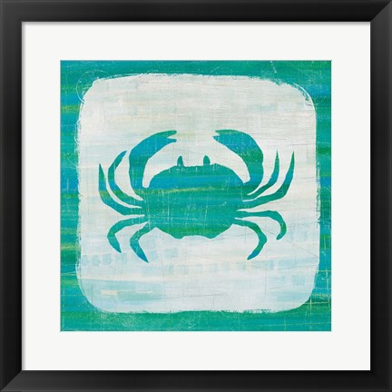 Framed Ahoy V Blue Green Print