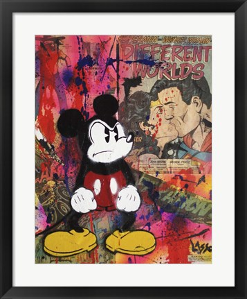 Framed Angry Mickey Print