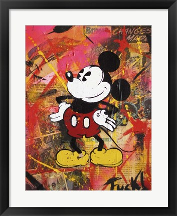 Framed Happy Mickey Print