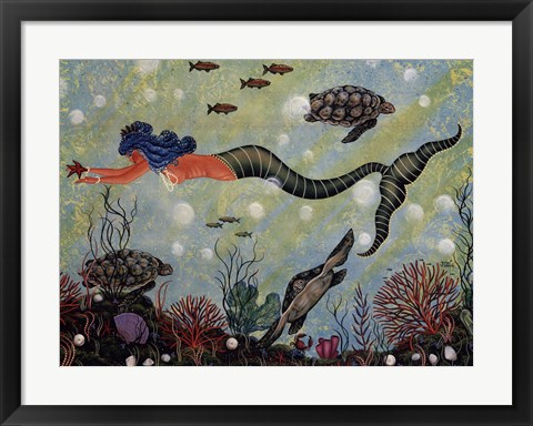 Framed Blue Mermaid Print