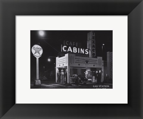 Framed Gas Station, c.1945 Print