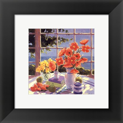 Framed Red Poppies & Green Apples Print