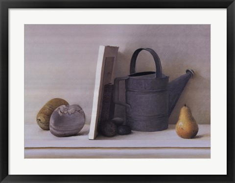 Framed Watering Cans with Pear II Print