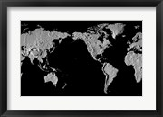 Close-up of a world map - black