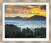 Asheville NC Blue Ridge Mountains Sunset and Fog Landscape
