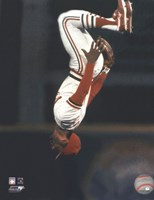 Framed Ozzie Smith Flipping Action