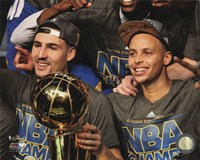 Framed Klay Thompson & Stephen Curry with the NBA Championship Trophy Game 6 of the 2015 NBA Finals