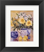 Framed Sunflowers and Blue China