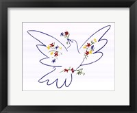 Framed Dove with Flowers