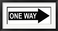 Framed Sign - One Way
