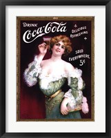 Framed Coca-Cola Lady in Green Dress