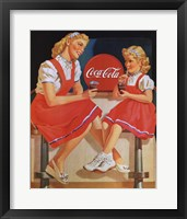Framed Coca-Cola Young Girls