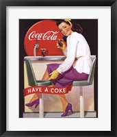 Framed Coca-Cola Lady in Purple