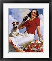 Framed Coca-Cola Lady with Dog