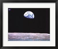 Framed Earthrise Over the Moon