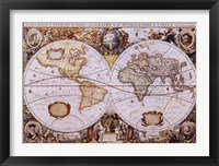 Framed Map of the World (antique style)