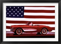 Framed Corvette, 1957 - Us Flag