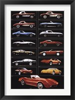 Framed Corvette 15 Models