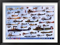 Framed World War I Aircraft - blue