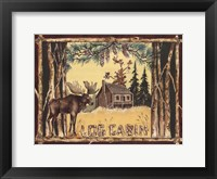 Framed Log Cabin Moose