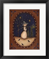 Snowman Lantern Framed Print