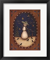 Framed Snowman with Crows