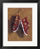 Framed Sioux Quilled Moccasins