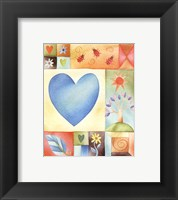 Framed Big Blue Heart