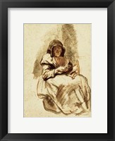 Framed Sepia Grandma Sewing