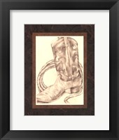 Framed Sepia Boots I (HI)