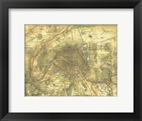 Map of Paris Framed Print