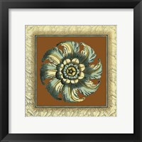 Framed Brown & Blue Rosettes II