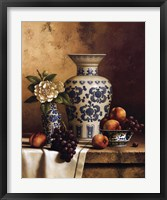 Framed Blue and White Oriental Still Life with Peaches and Grapes